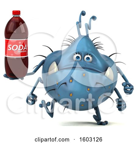 Clipart of a 3d Blue Germ Monster Holding a Soda, on a White Background - Royalty Free Illustration by Julos