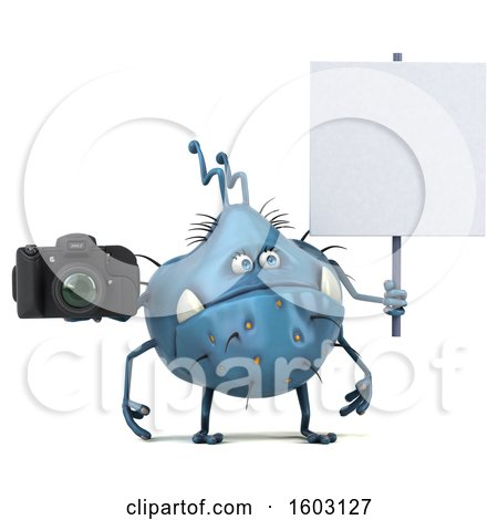 Clipart of a 3d Blue Germ Monster Holding a Camera, on a White Background - Royalty Free Illustration by Julos