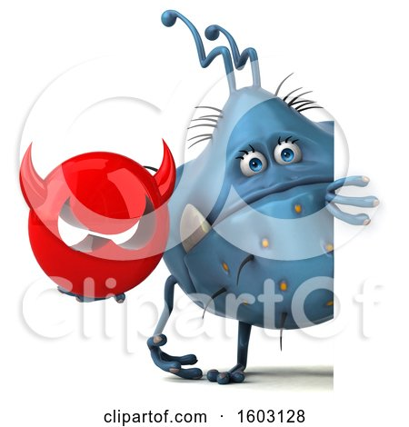 Clipart of a 3d Blue Germ Monster Holding a Devil, on a White Background - Royalty Free Illustration by Julos