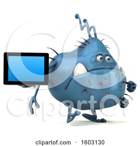 Clipart of a 3d Blue Germ Monster Holding a Tablet, on a White Background - Royalty Free Illustration by Julos