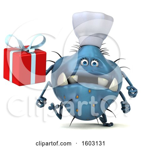 Clipart of a 3d Blue Chef Germ Monster Holding a Gift, on a White Background - Royalty Free Illustration by Julos