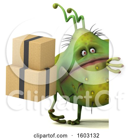 Clipart of a 3d Green Germ Monster Holding Boxes, on a White Background - Royalty Free Illustration by Julos