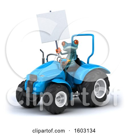 Clipart of a 3d Blue Frog Operating a Tractor, on a White Background - Royalty Free Illustration by Julos