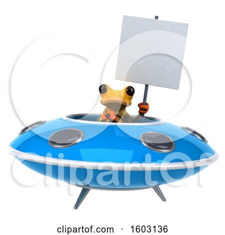 Clipart of a 3d Yellow Frog Flying a Ufo, on a White Background - Royalty Free Illustration by Julos