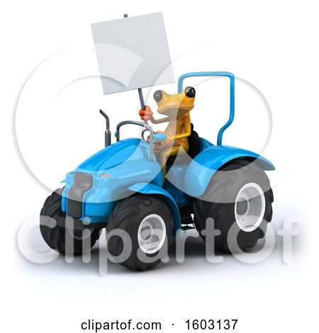 Clipart of a 3d Yellow Frog Operating a Tractor, on a White Background - Royalty Free Illustration by Julos