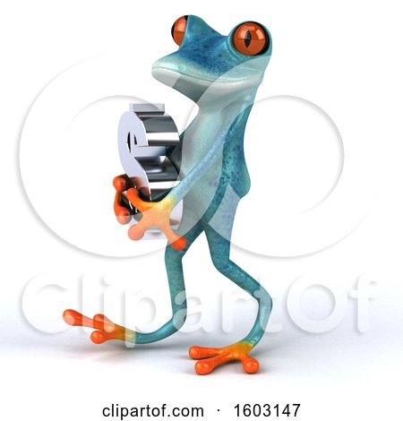 Clipart of a 3d Blue Frog Holding a Dollar Sign, on a White Background - Royalty Free Illustration by Julos