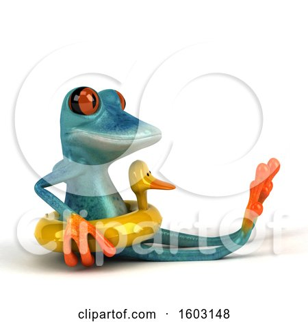 Clipart of a 3d Blue Frog Wearing a Duck Inner Tube, on a White Background - Royalty Free Illustration by Julos
