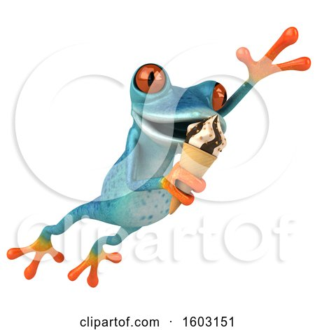 Clipart of a 3d Blue Frog Holding a Waffle Cone, on a White Background - Royalty Free Illustration by Julos