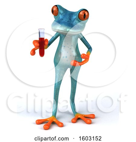 Clipart of a 3d Blue Frog Holding a Test Tube, on a White Background - Royalty Free Illustration by Julos