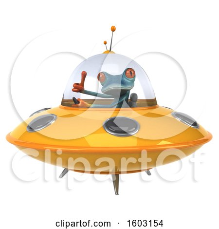Clipart of a 3d Blue Frog Flying a Ufo, on a White Background - Royalty Free Illustration by Julos