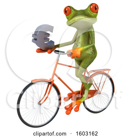 Clipart of a 3d Green Frog Holding a Euro, on a White Background - Royalty Free Illustration by Julos