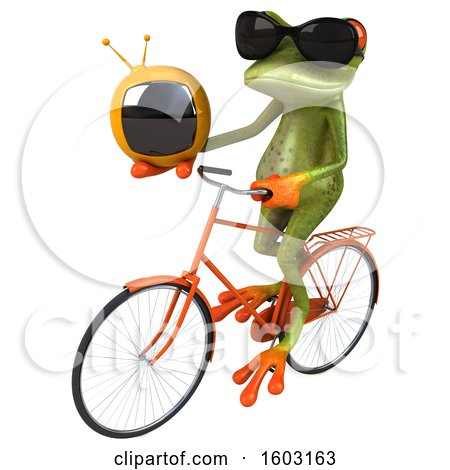 Clipart of a 3d Green Frog Holding a Tv, on a White Background - Royalty Free Illustration by Julos