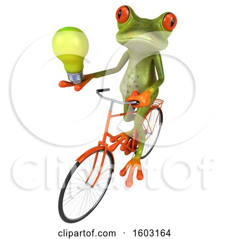 Clipart of a 3d Green Frog Holding a Light Bulb, on a White Background - Royalty Free Illustration by Julos