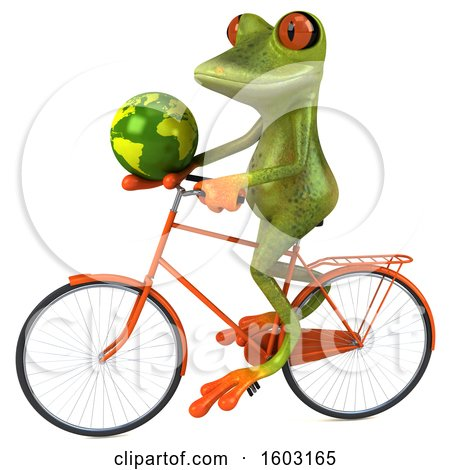 Clipart of a 3d Green Frog Holding a Globe, on a White Background - Royalty Free Illustration by Julos