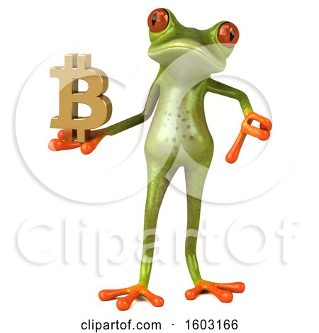 Clipart of a 3d Green Frog Holding a Bitcoin Symbol, on a White Background - Royalty Free Illustration by Julos