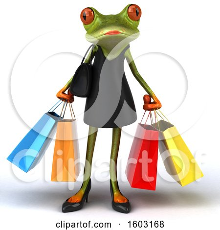 Clipart of a 3d Female Green Frog Holding Shopping Bags, on a White Background - Royalty Free Illustration by Julos