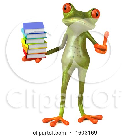 Clipart of a 3d Green Frog Holding Books, on a White Background - Royalty Free Illustration by Julos