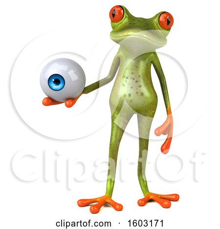 Clipart of a 3d Green Frog Holding an Eyeball, on a White Background - Royalty Free Illustration by Julos