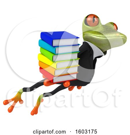 Clipart of a 3d Green Business Frog Holding Books, on a White Background - Royalty Free Illustration by Julos
