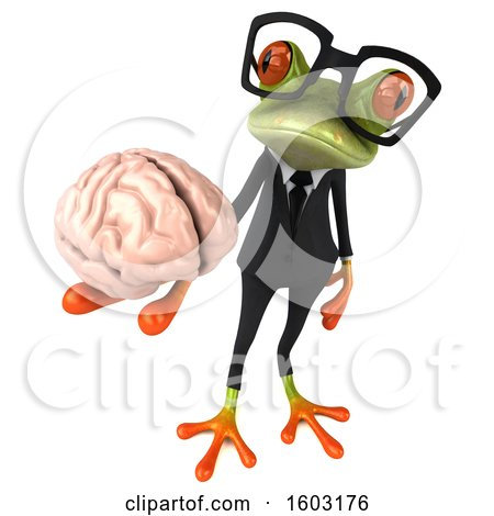 Clipart of a 3d Green Business Frog Holding a Brain, on a White Background - Royalty Free Illustration by Julos