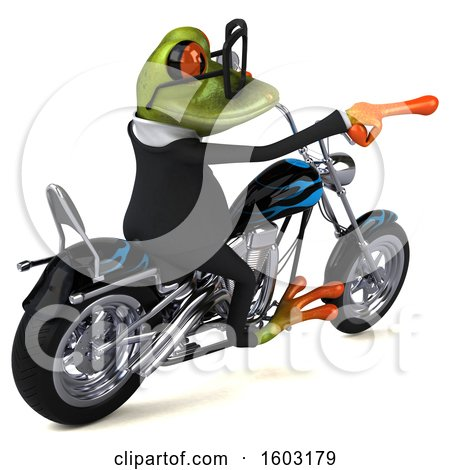 Clipart of a 3d Green Business Frog Biker Riding a Chopper Motorcycle, on a White Background - Royalty Free Illustration by Julos