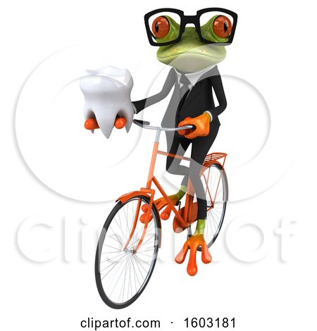 Clipart of a 3d Green Business Frog Holding a Tooth, on a White Background - Royalty Free Illustration by Julos