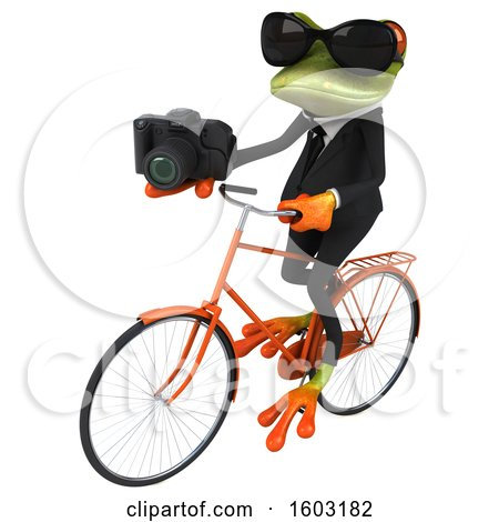Clipart of a 3d Green Business Frog Holding a Camera, on a White Background - Royalty Free Illustration by Julos