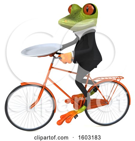 Clipart of a 3d Green Business Frog Holding a Plate, on a White Background - Royalty Free Illustration by Julos