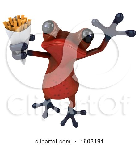 Clipart of a 3d Red Frog Holding Fries, on a White Background - Royalty Free Illustration by Julos