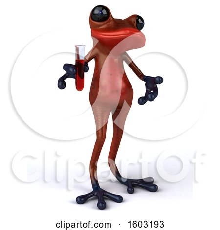 Clipart of a 3d Red Frog Holding a Test Tube, on a White Background - Royalty Free Illustration by Julos