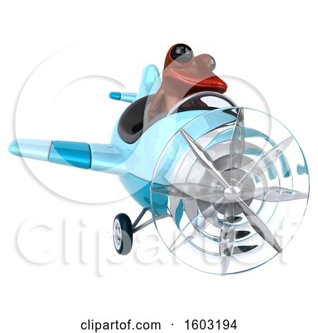 Clipart of a 3d Yellow Frog Flying a Plane, on a White Background - Royalty Free Illustration by Julos