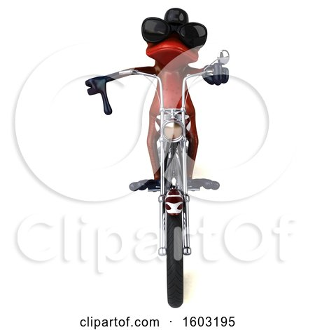 Clipart of a 3d Yellow Frog Biker Riding a Chopper Motorcycle, on a White Background - Royalty Free Illustration by Julos