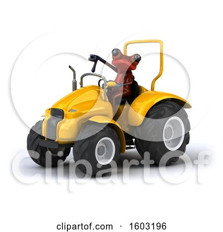 Clipart of a 3d Red Frog Operating a Tractor, on a White Background - Royalty Free Illustration by Julos