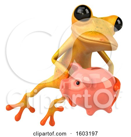 Clipart of a 3d Yellow Frog Holding a Piggy Bank, on a White Background - Royalty Free Illustration by Julos