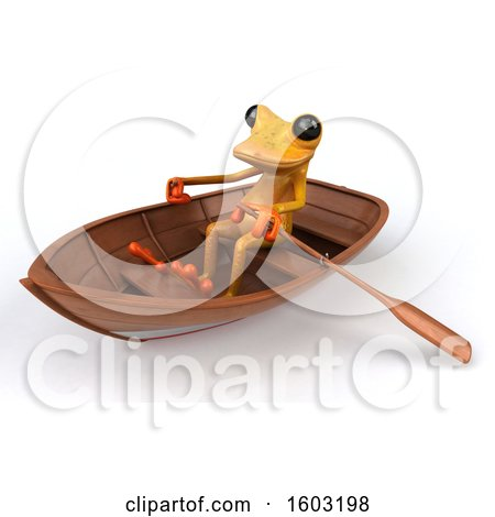 Clipart of a 3d Yellow Frog Rowing a Boat, on a White Background - Royalty Free Illustration by Julos