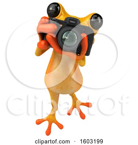 Clipart of a 3d Yellow Frog Holding a Camera, on a White Background - Royalty Free Illustration by Julos