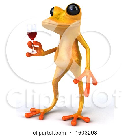 Clipart of a 3d Yellow Frog Holding a Glass of Red Wine, on a White Background - Royalty Free Illustration by Julos
