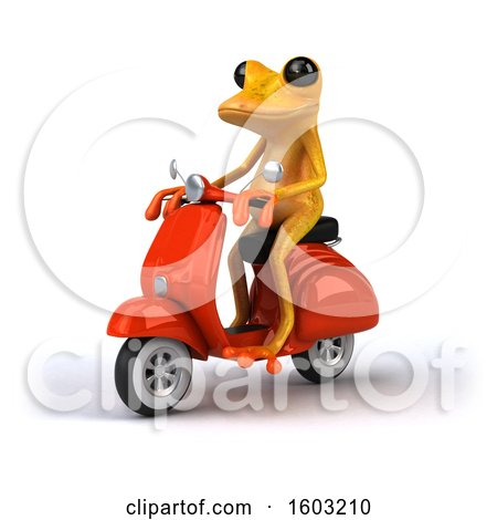Clipart of a 3d Yellow Frog Riding a Scooter, on a White Background - Royalty Free Illustration by Julos