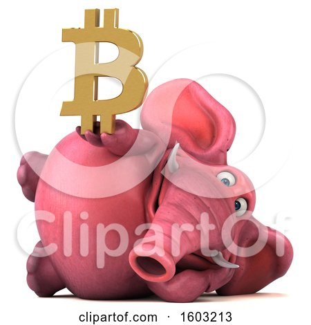 Clipart of a 3d Pink Elephant Holding a Bitcoin Symbol, on a White Background - Royalty Free Illustration by Julos