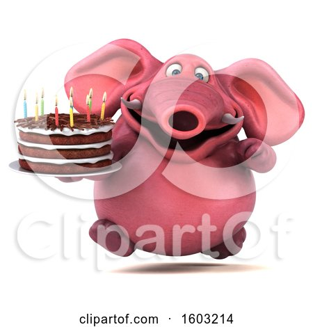 Clipart of a 3d Pink Elephant Holding a Birthday Cake, on a White Background - Royalty Free Illustration by Julos