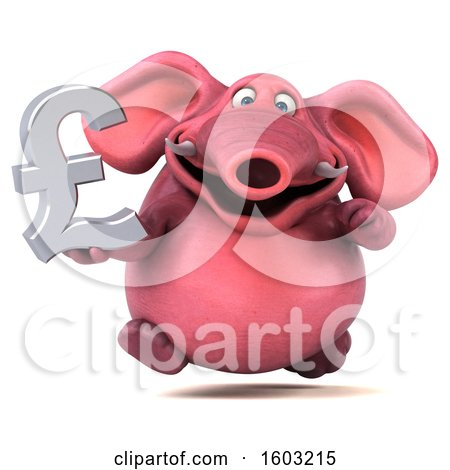Clipart of a 3d Pink Elephant Holding a Lira, on a White Background - Royalty Free Illustration by Julos