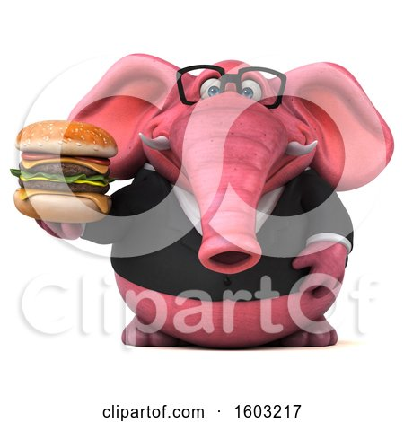 Clipart of a 3d Pink Business Elephant Holding a Burger, on a White Background - Royalty Free Illustration by Julos