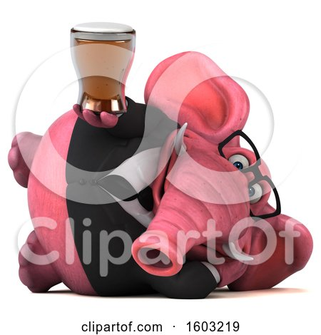 Clipart of a 3d Pink Business Elephant Holding a Beer, on a White Background - Royalty Free Illustration by Julos