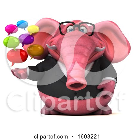 Clipart of a 3d Pink Business Elephant Holding Messages, on a White Background - Royalty Free Illustration by Julos