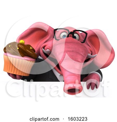 Clipart of a 3d Pink Business Elephant Holding a Cupcake, on a White Background - Royalty Free Illustration by Julos