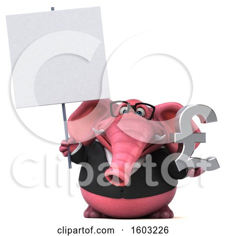 Clipart of a 3d Pink Business Elephant Holding a Lira, on a White Background - Royalty Free Illustration by Julos
