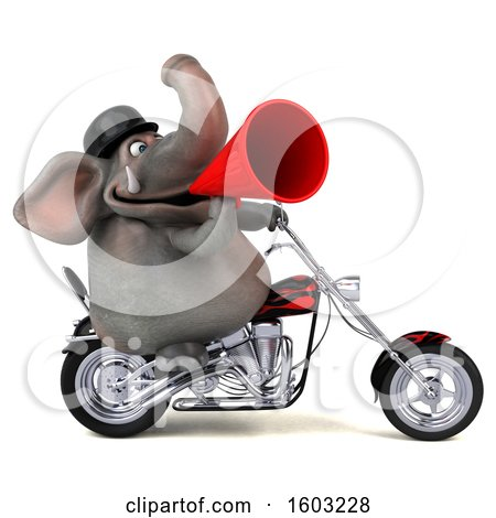 Clipart of a 3d Elephant Biker Riding a Chopper Motorcycle, on a White Background - Royalty Free Illustration by Julos