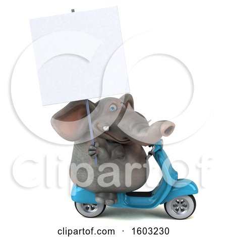 Clipart of a 3d Elephant Riding a Scooter, on a White Background - Royalty Free Illustration by Julos
