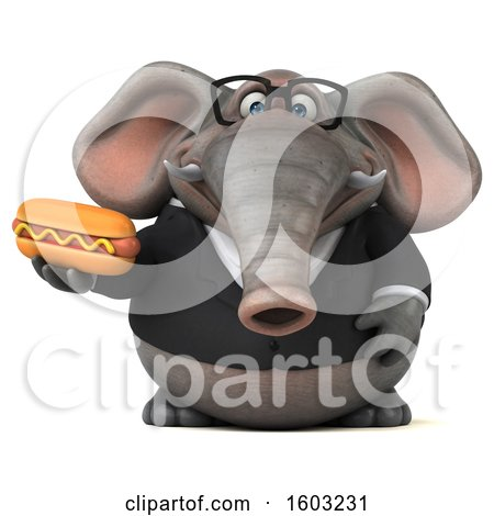 Clipart of a 3d Business Elephant Holding a Hot Dog, on a White Background - Royalty Free Illustration by Julos