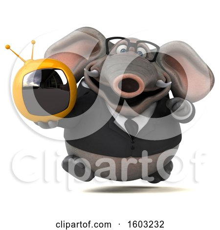 Clipart of a 3d Business Elephant Holding a Tv, on a White Background - Royalty Free Illustration by Julos